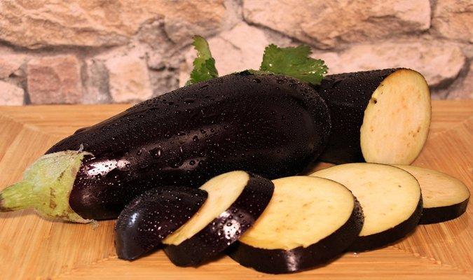 Cut eggplants
